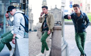 3 modi per indossare jeans verdi, outfit, PANTALONI BIKER STRAPPI di Zara